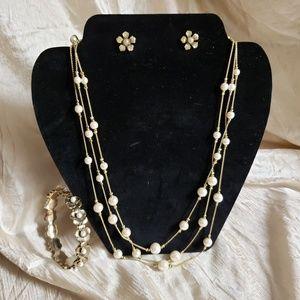 Matching necklace, earring, bracelet set